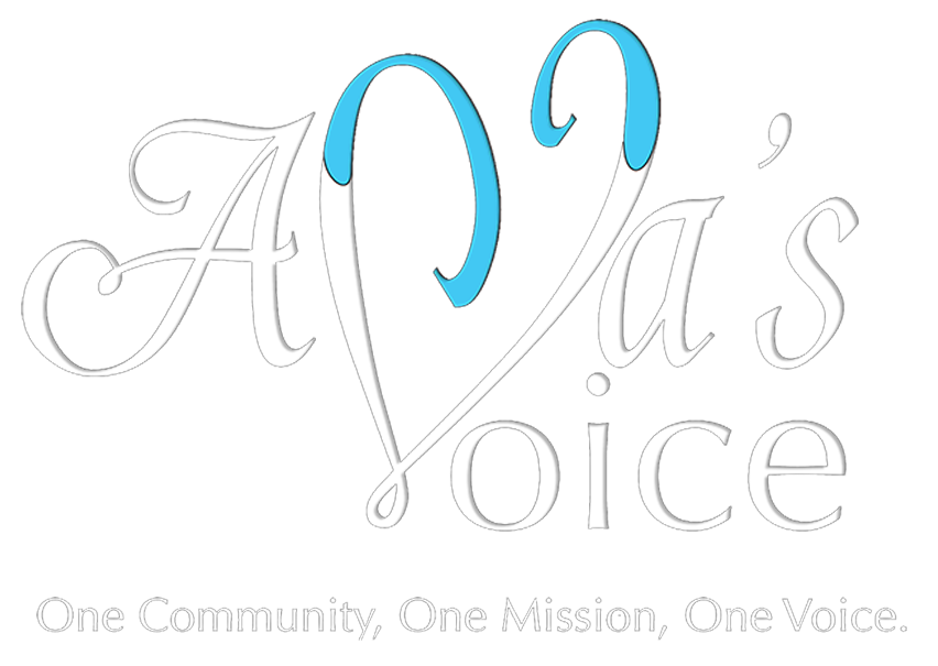 Ava's Voice Logo - One Community, One Mission, One Voice.